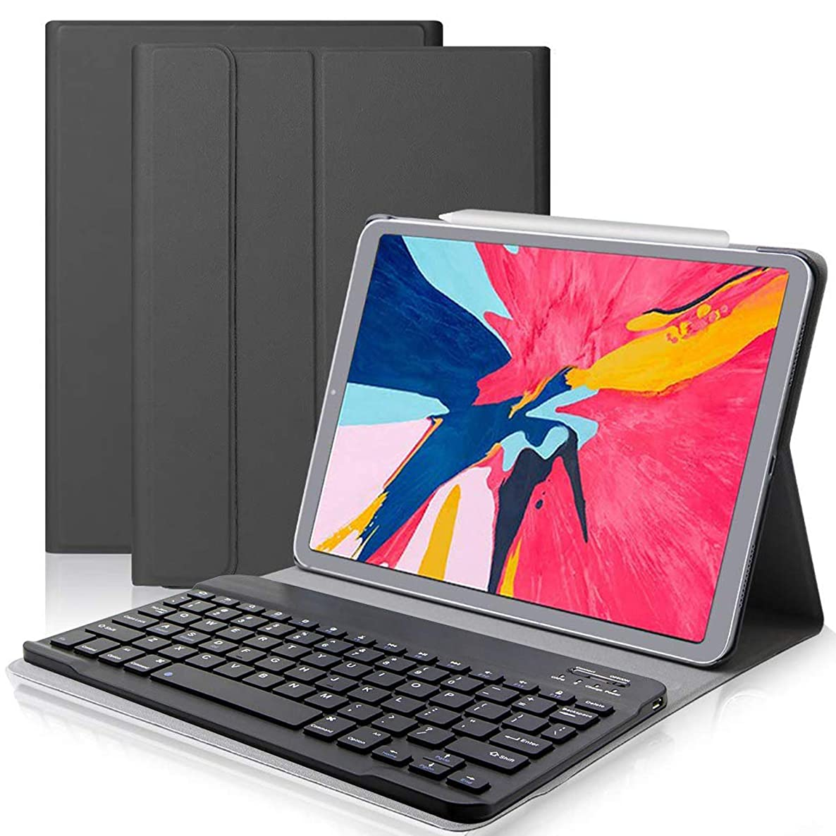 HISSP iPad Pro 11 Keyboard Case for 2018 iPad, VOIKERDR 2018 iPad Pro 11 inch Stand Case with Keyboard, Auto Sleep & Wake, Built-in Magnet, Removable Wireless Keyboard, Black