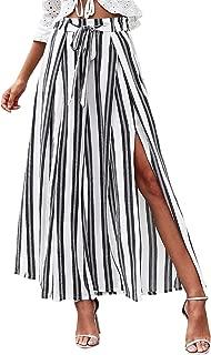 Women's Boho High Waist Split Stripe Wide Leg Pants