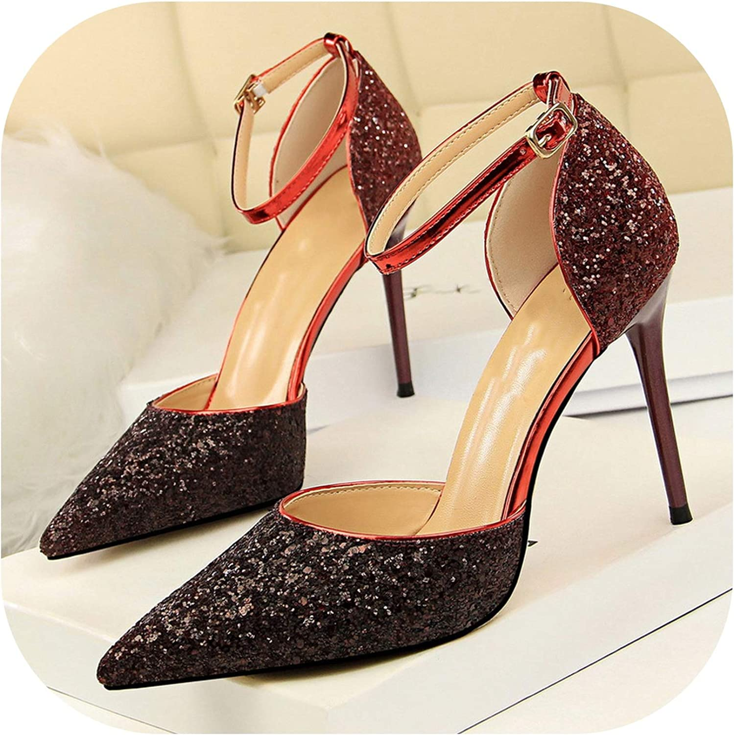 Style Sexy Female High-Heeled Shallow Shallow Mouth Pointed color Gradient Sequins Word Sandals