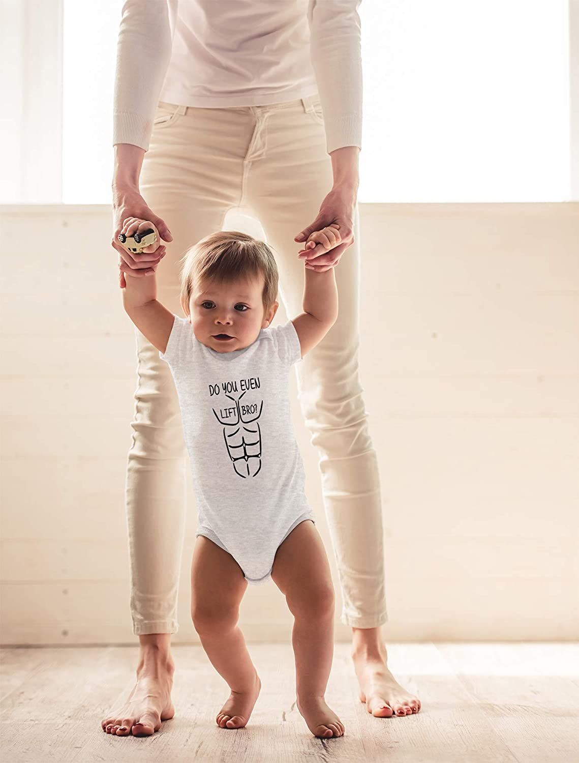 Cute Infant One-Piece Baby Bodysuit Sarcastic Weightlifting Outfit CBTwear Do You Even Lift Bro