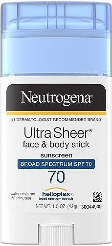 Neutrogena Ultra Sheer Non-Greasy Sunscreen Stick for Face & Body, Broad Spectrum SPF 70 UVA/UVB Sunscreen Stick, PAB...