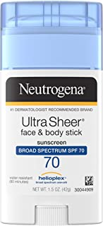 Neutrogena Non-Greasy Sunscreen Stick for Face & Body, Broad Spectrum SPF 70, 1.5 oz