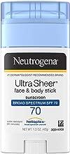 Neutrogena Non-Greasy Sunscreen Stick for Face & Body, Broad Spectrum SPF 70, 1.5 oz