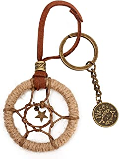 LBTOEM Dream Catcher Circular Pisces Keychain Hanging in Cars Key Wallet and Handbags Decoration Pendant Present for Adult...