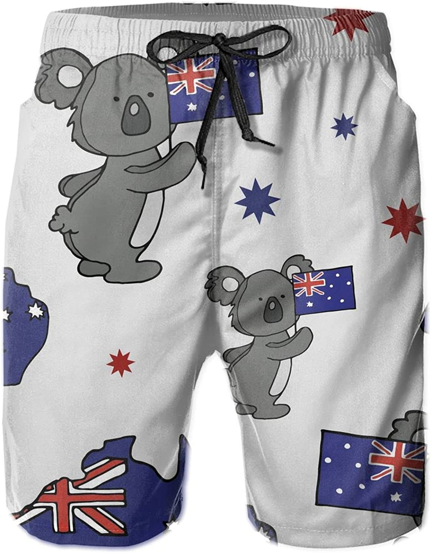 Men's Beach Board Shorts Koala and map of Australia Flag Summer Lightweight Beach Swim Trunks