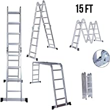 EQUAL Foldable Multipurpose Aluminium Super Ladder for Home and Industrial Purpose (15 Feet)