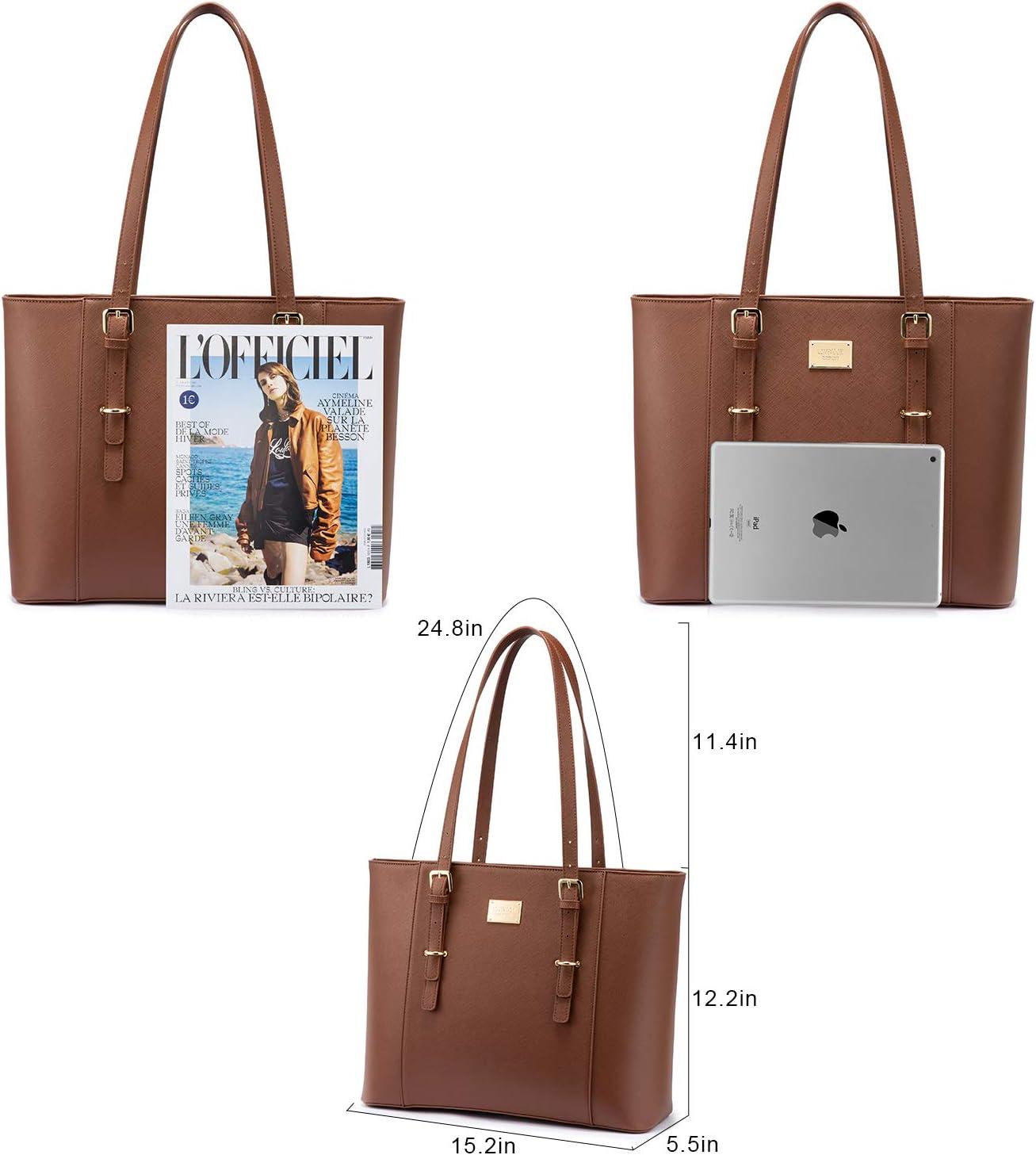 Wasserdicht Shopper PU Leder LOVEVOOK Laptop Handtasche Damen Gro/ß Schwarz Elegant Business 15.6 Zoll Laptoptasche Aktentasche Arbeitstasche