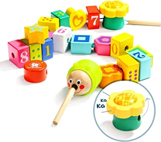 TOP BRIGHT Wooden Lacing Beads for Toddlers, Fine Motor Skills Montessori Toys, Preschool Learning Toys for 2 Year Old Boy...