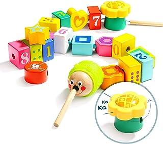 خرز من الخشب عالي السطوع للأطفال الصغار، ألعاب مونتيسوري ذات المهارات الحركية الدقيقة، ألعاب تعليمية للأطفال في سن عامين