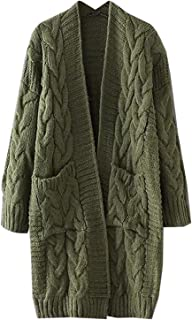 Women's Chunky Twist Knitted Open Front Patch Pocket Long Cardigan Oversized Coat