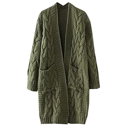 b5dcaf704 futurino Women s Chunky Twist Knitted Open Front Patch Pocket Long Cardigan  Oversized Coat