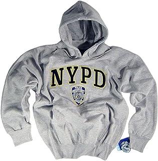 NYPD - Sudadera con capucha y logotipo de The New York City Police Department bordados letras y logotipo gris