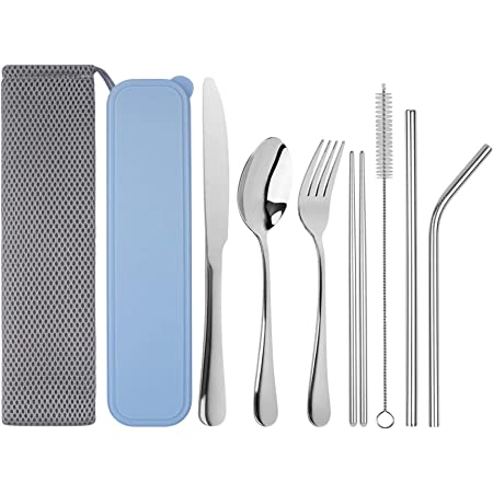 Nesmilers 4 Pieces Portable Flatware Set for Hiking Camping Travel Stainless Steel