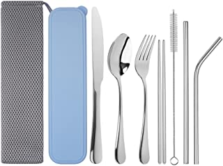Travel Utensils, Tifanso Upgraded Reusable Utensils with Case, Portable Travel Cutlery Set, 9-Piece Including Knife Fork S...