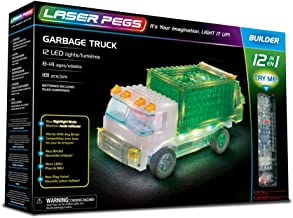 Laser Pegs Garbage Truck 12-in-1 Building Set Building Kit; The First Lighted Construction Toy to Ignite Your Child's Creativity; It's Your Imagination, Light It Up