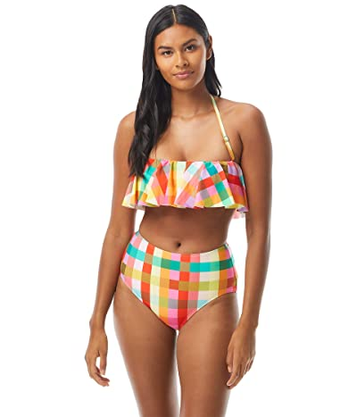 Kate Spade New York Garden Plaid Ruffle Bandeau Top w/ Removable Soft Cups and Strap (Multi) Women