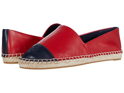 Tory Burch Color Block Flat Espadrille (Brilliant Red/Perfect Navy) Women