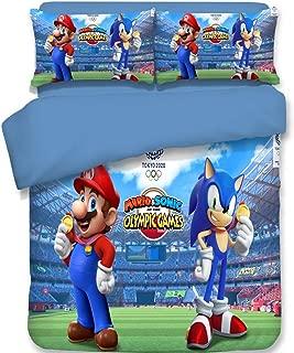 3 Piece Bedding Set 3D Printed Hedgehogs Sonic Duvet Cover Set 100% Microfiber (1 Duvet Cover 2 Pillowcases)