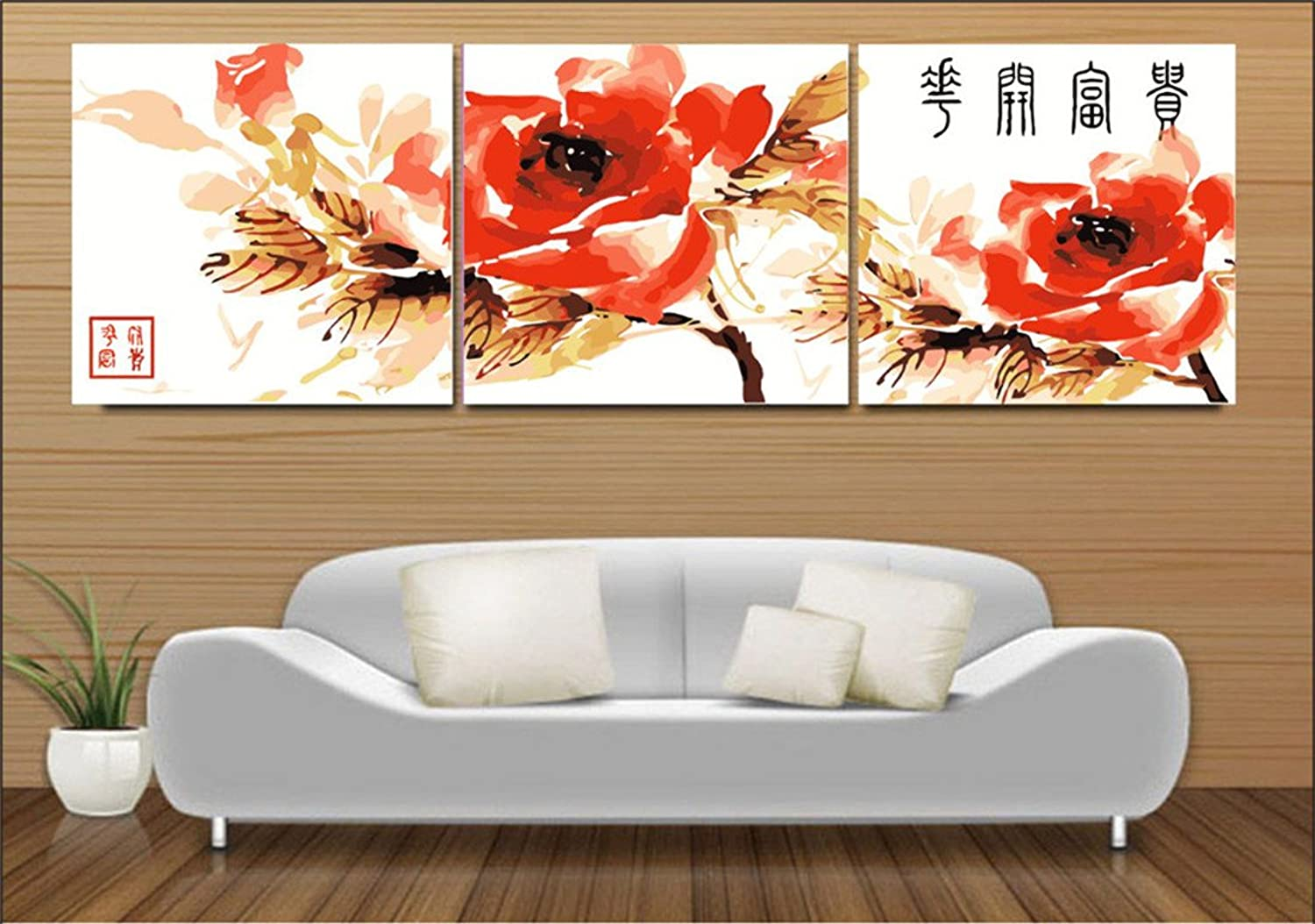YEESAM Art New Paint by Numbers for Adults 3 Piece Pack Panel  Lucky Red Flowers Blossom 20x20 inch Linen Canvas  DIY Painting Three Pieces Multipack Wall Art (Without Frame)