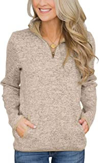 Yidarton Womens Casual Long Sleeve Stand Collar Sweatshirt Pollover Jumper Tops with Pockets