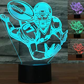 3D Rugby American Football Night Light Touch Switch Decor Table Desk Optical Illusion Lamps 7 Color Changing Lights LED Table Lamp Xmas Home Love Brithday Children Kids Decor Toy Gift