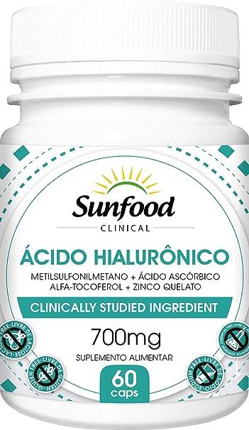 Ácido Hialurônico 700 mg MSM Vitamina C Vitamina E Zinco Quelato Sunfood 60 Cápsulas