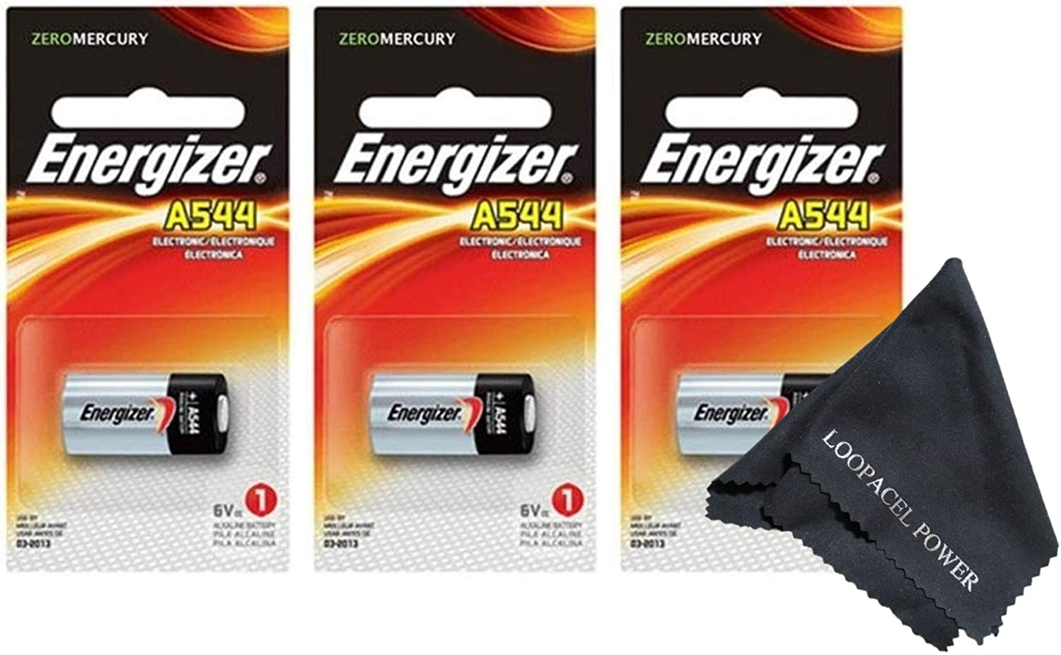Energizer A544 6-Volt Photo Battery 3 Pack With Cloth - With Loopacell Brand Microfiber Cleaning Cloth Ultra Smooth, Colors May Vary : Health & Household