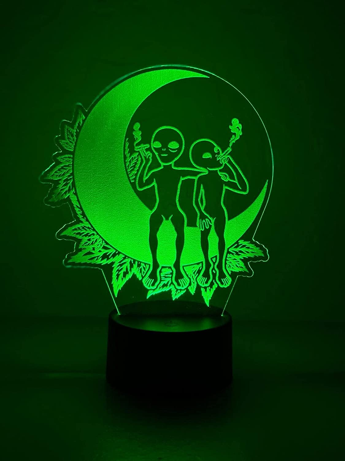 Free shipping anywhere Raleigh Mall in the nation Marijuana Leaf 3D LED Table Lamp Cannabis Weed Night Optic Light