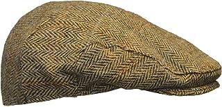 Walker & Hawkes - Uni-Sex Derby Harris Tweed Herringbone Flat Cap - Charcoal - S-XL