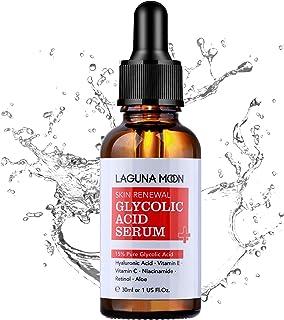 Lagunamoon 15 % glykolsyra serum för ansiktet, anti-aging ansiktsserum, aloe, hyaluronsyra, retinol för peeling, minska ry...
