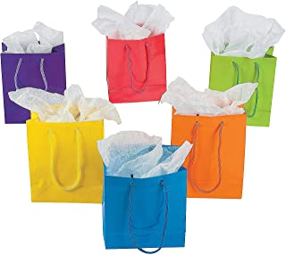 Fun Express Small Neon Gift Bags (1 Dozen) Party Supplies & Favor Bags, Gift Bags with Handles, Assorted Neon Colors, 4 3/8