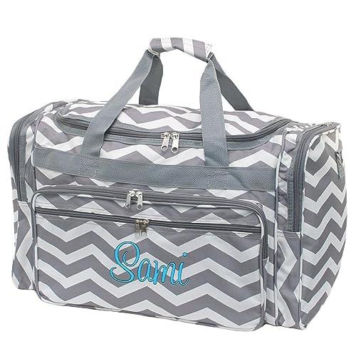 Personalized Grey Chevron Grey Trim Womens 20 Inch Duffel Bags 940909ddf0293