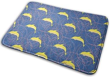 Cartoon Dolphins Carpet Non-Slip Welcome Front Doormat Entryway Carpet Washable Outdoor Indoor Mat Room Rug 15.7 X 23.6 inch