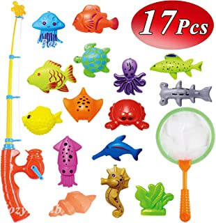 CozyBomB Kids Fishing Bath Toys Game - 17Pcs Magnetic Floating Toy Magnet Pole Rod Net, Plastic Floating Fish - Toddler Education Teaching and Learning Colors Ocean Sea Animals 3 Year olds