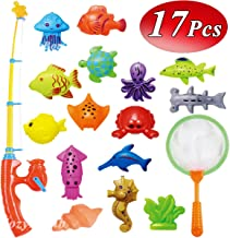 CozyBomB Kids Fishing Bath Toys Game - 17Pcs Magnetic Floating Toy Magnet Pole Rod Net, Plastic Floating Fish - Toddler Education Teaching and Learning Colors (New)