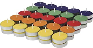 Amazon Brand - Solimo Colored Wax Tealight Candles (Set of 50, Unscented)