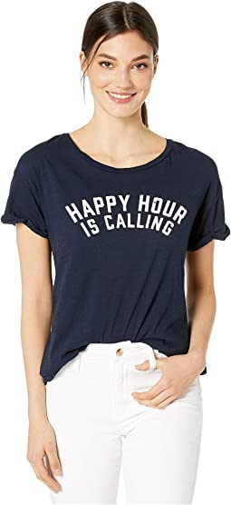 79c1e378 Happy Hour Is Calling Rolled Short Sleeve Slub T-Shirt