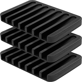 Anwenk 3Pack Soap Dish for Shower Waterfall Soap Holder Soap Tray Soap Saver Drainer Flexible Silicone for Shower/Bathroom/Kitchen/Counter Top,Keep Soap Bars Dry Clean,Easy Cleaning-Black