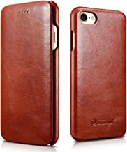 Icarercase Vintage Series Ultra Slim Flip Folio Side Opening Leather Case With Magnetic Closure for Apple iPhone 7/8 4.7 Inch - Brown