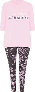 Yours - Pink 'Relax It's The Weekend' Lounge Set - Women's - Plus Size Curve