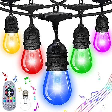FMIX Color Changing Outdoor String Lights,24/48FTS RGB String Lights Weatherproof Shatterproof Music Auto Flash Color Changing Strand Connectable Remote Control Hanging Light for Patio Cafe (24 FTS)