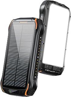 ソーラーチャージャー モバイルバッテリー26800mAh大容量 PD15W 急速充電3台同時に(Type-C+USBポート2個)PSE認証済 全面スクリーン点灯 IPX6防水ソーラー充電器 耐衝撃災害/旅行/アウトドア用iPhone...