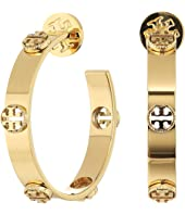 Tory Burch - Milgrain Logo Hoop Earrings