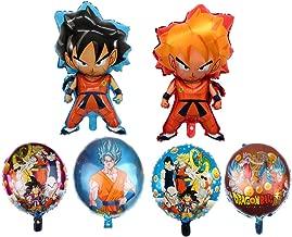 ELSANI 6pcs Dragon Ball Z Balloons Birthday Celebration Foil Balloon Set Super Saiyan Goku Gohan Character Party Decorations