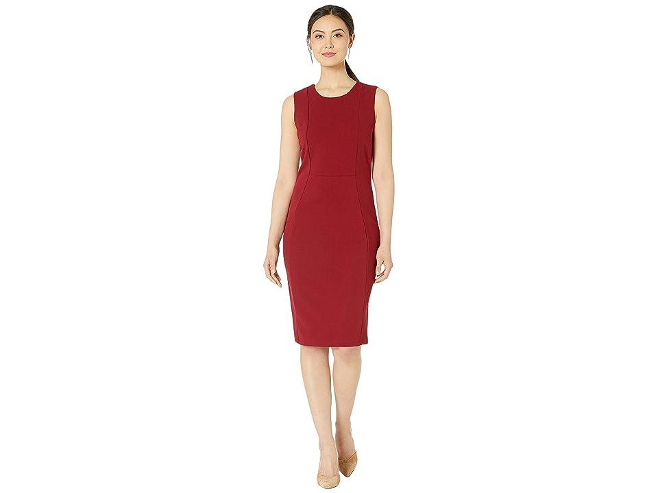 MARINA Short Stretch Crepe Dress w/ Exposed Zip Back (Cranberry) Women