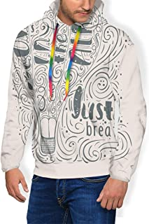 Men's Hoodie Plus Velvet Sweatshirt,Love is in The Air with Hot Air Balloon and Typographic Lettering Inside 3XL