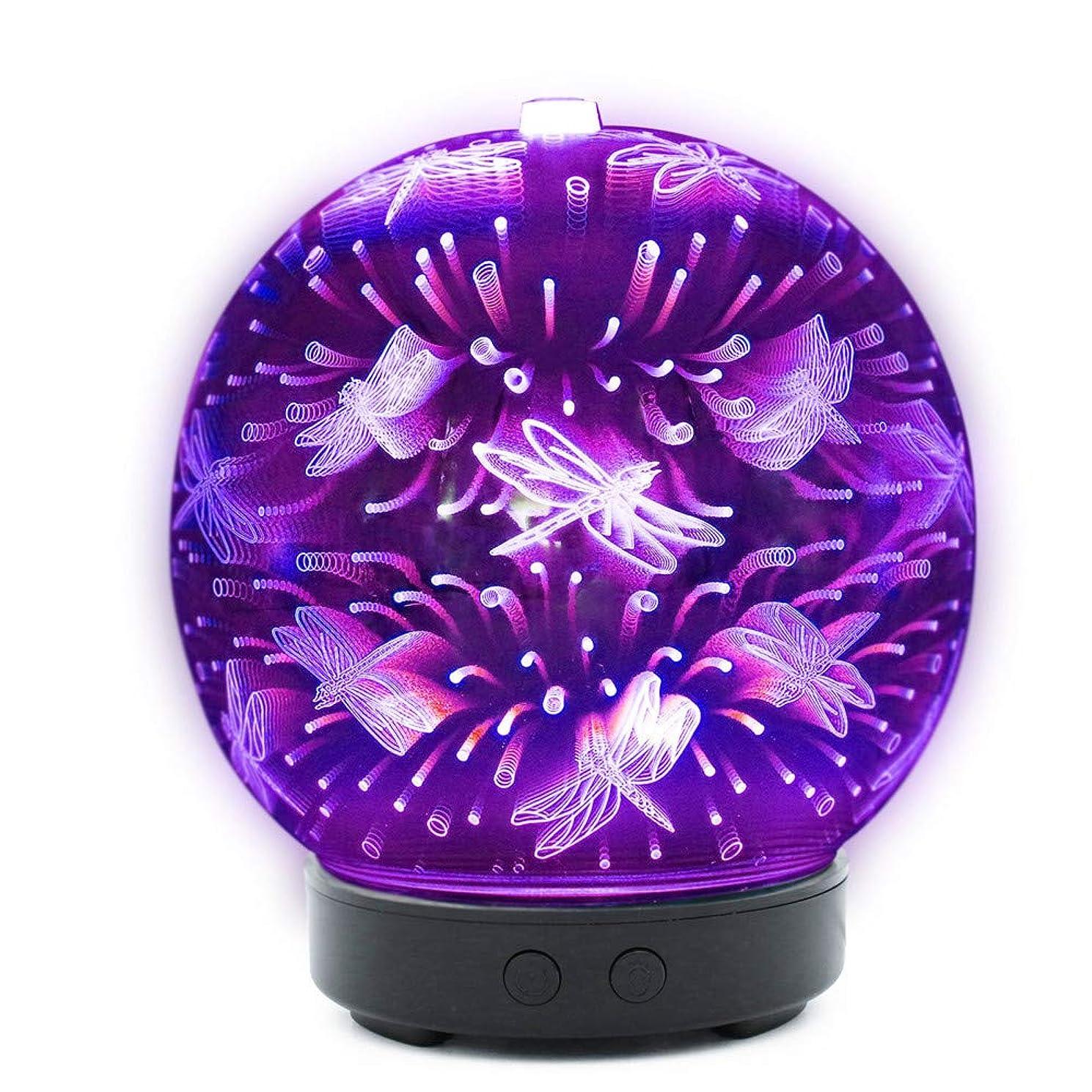 あいまいなフォアマン受粉者Amaping 3D Glass Essential Oil Diffuser, Aromatherapy Ultrasonic Cool Mist Humidifier, 3D Effect Night Light 7 Color Changing LEDs, Waterless Auto-Off, Timer Setting (Dragonfly Pattern) 141[並行輸入]