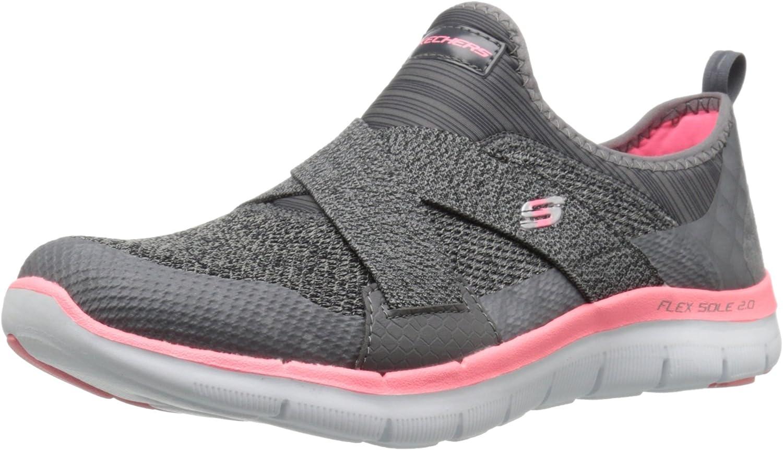 Skechers Women's Sport Flex Appeal 2.0 New Image Fashion Sneaker, Charcoal Coral, 8 M US