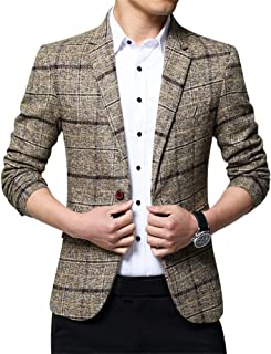 ZiXing Mens Slim Fit Suit Business Casual Jacket Checked Dinner Blazer
