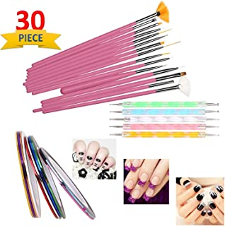 SGM® Nail Art Paint kit,15 Pieces Nail Art Paint Brushes with 5 Pieces 2 Way Marbleizing Dotting Pen and 10 Pieces Assorte...